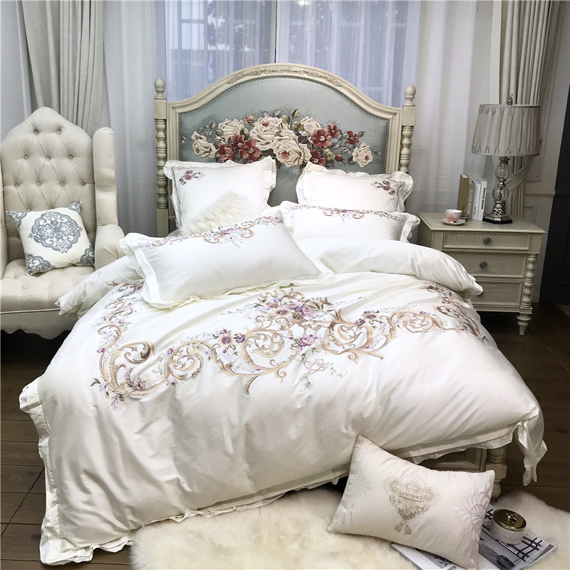 White Pink Luxury Flowers Embroidery 100S Egyptian Cotton Court Bedding Set Duvet Cover Bed Sheet Bed Linen Pillowcases 4/7pcs