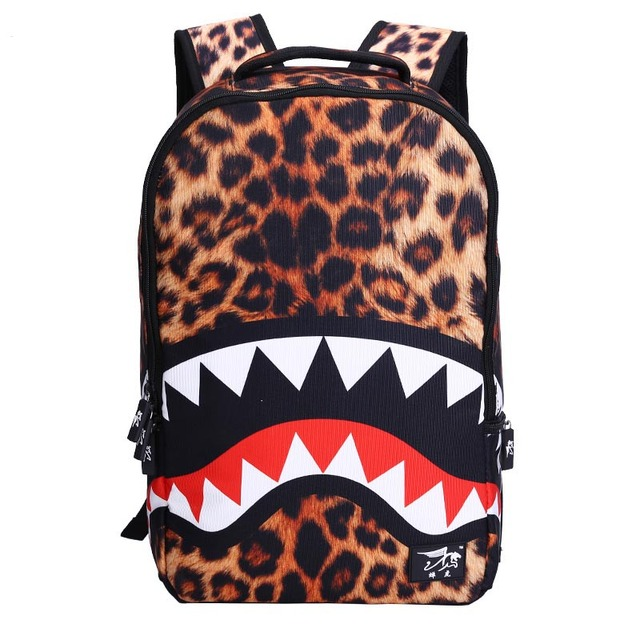2016 новая мода Leopard Акулы Рот Рюкзаки Для Подростков Прохладный Женщины Путешествия Рюкзак Дети Школьные Сумки Симпатичные Сумка Ребенок Mochila