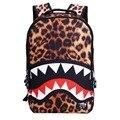 2016 новая мода Leopard Акулы Рот рюкзаки для подростков путешествия рюкзак дети школьные сумки симпатичные сумка ребенок mochila