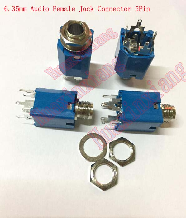 цена на 20PCS/Lot 6.35mm/6.35 Stereo Audio Microphone Female Jack/Socket Connector 5P/3P Blue