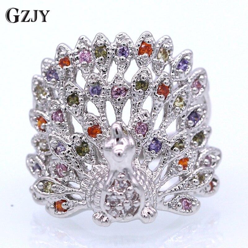 Cooperativa Gzjy Engagement Peacock Wedding Finger Rings Multi-color Zircon White Gold C Ring For Women Fashion Jewelry Giada Bianca
