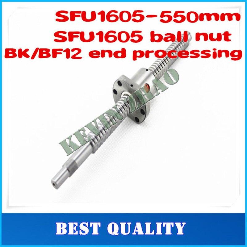 16mm 1605 Ball Screw Rolled C7 ballscrew SFU1605 550mm with one 1605 flange single ball nut