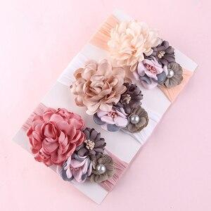 16pc/lot Newborn Kids Wide Nylon Headbands,Satin Burned Flower Match Nylon Headbands Children Girls Hair Accessories(China)