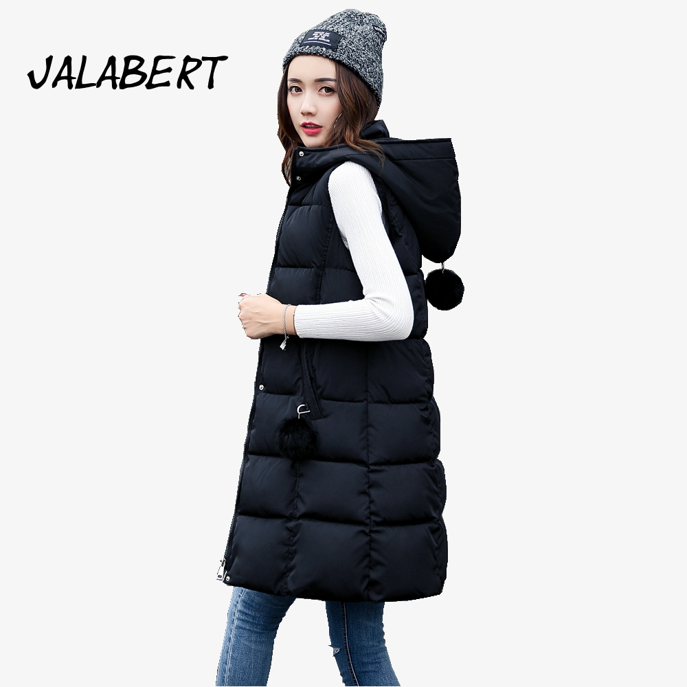 2017 autumn winter Female new long Slim waistcoat warm Hooded with Hairball jacket women thicker cotton