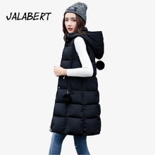 2017 autumn winter Female new long Slim waistcoat warm Hooded with Hairball jacket women thicker cotton parka warm vest