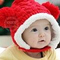 Bebê infantil de Natal Crochet Quente Dupla Bolas Bolas de Ouvido Lã Chapéu de Malha Artesanal Earflap Cap