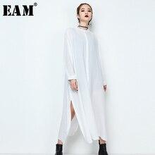 [EAM] 2020 automne hiver femme élégant nouveau noir blanc couleur simple boutonnage à manches longues en vrac fendu ourlet robe JE64701