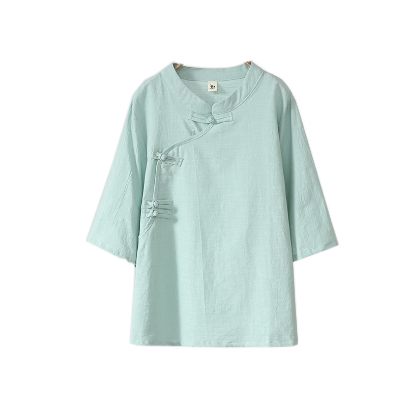 NAGODO Chinese Clothings Tops Vintage Cotton Linen Folk Style Female ladies Loose T Shirts Half Sleeve women White Green