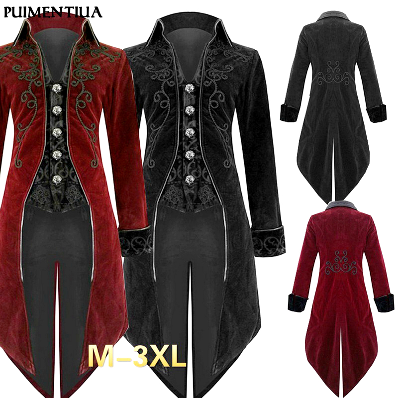 Puimentiua Men Tuxedo Stage Play Steampunk Gothic Windbreaker Long  Jacket Costume Cocktail Evening Dress Halloween Party Wear