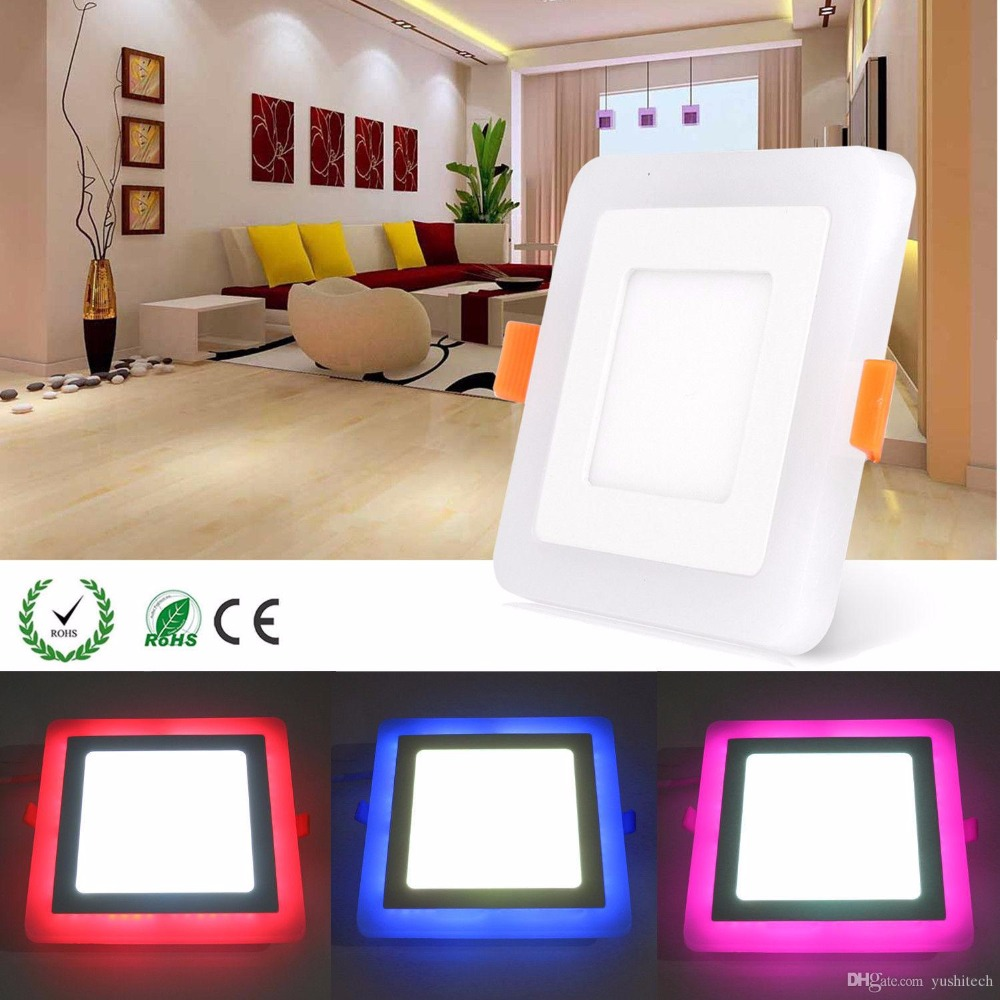 6W 9W 18W 24W RGBW Dual Color LED Ceiling Recessed Square Panel Downlight Spot Light Lamp For Home Office Club 100lumen/w
