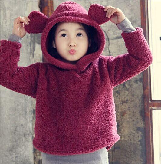 Outono Inverno 2015 Novo bebê meninas meninos Hoodies, Moda, Pelúcia, orelhas de Coelho, As Crianças Outerwear & Casacos. crianças t-shirt Para meninos das meninas