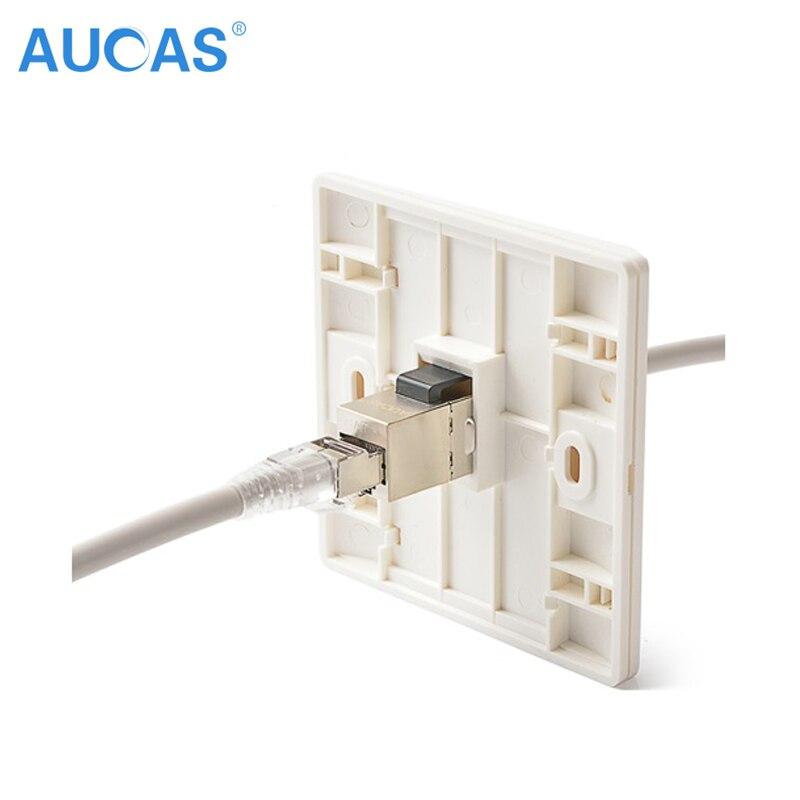 100PCS AUCAS FTP stíněný Cat6 RJ45 spojka Keystone Ethernet Rozdělovač síťový adaptér Plug Adaptér připojení Zinek slitina