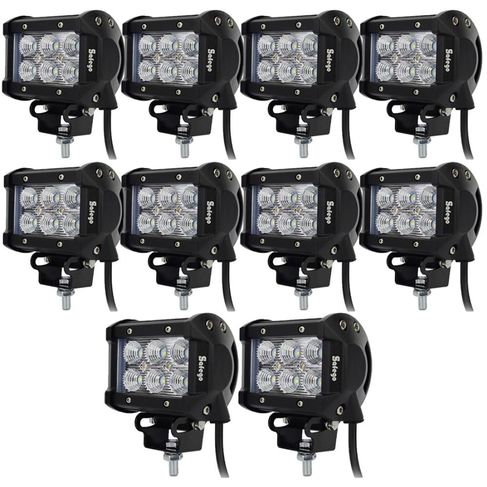 10pcs  4inch 12v led bar near far 18w work light spot flood beam external lights 24v lightbars