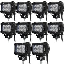 hot deal buy 10pcs  4inch 12v led bar near far 18w led work light  spot flood beam external lights  12v 24v led lightbars