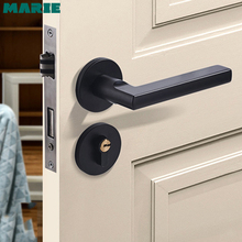 Black space aluminum alloy lever door handle Continental bedroom minimalist interior quiet lock cylinder 1 set