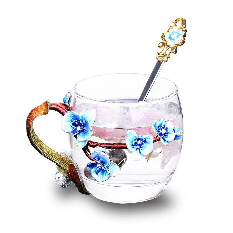 Émail couleur fleur de prunier métal Handgrip verre tasses cristal verre thé tasse à café boîte individuelle paquet pour cadeau de la mère