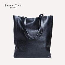 EMMA YAO frauen rindsleder tote einkaufstasche Genunie leder frauen handtasche berühmte marke damenmode tasche