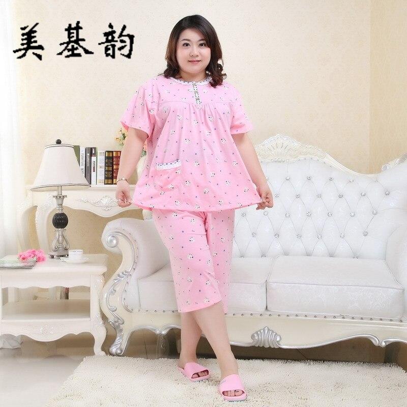 7b0852cb5a7 Free Shipping 2016 Women Spring Autumn Cotton Pajama Sleepwear Set Long  Sleeve Long pants High Quality Large Size Homewear 5XL