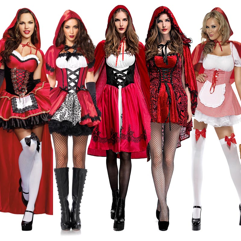 Halloween Little Red Riding Hood Fantasy Costume Hen Party Fairy Tale Cosplay Robe Fancy Dress For Adult Women Size S-6XL