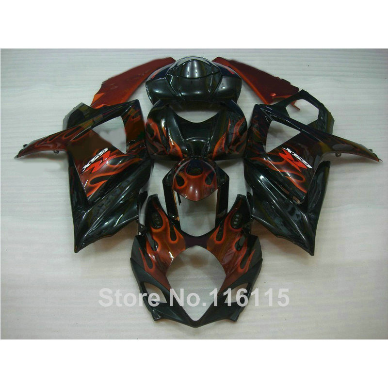 Free 7 gifts fairing kit for SUZUKI GSXR 1000 K7 K8 2007 2008 fairings 07 08 GSXR1000 red flames in black ABS bodykits JS85