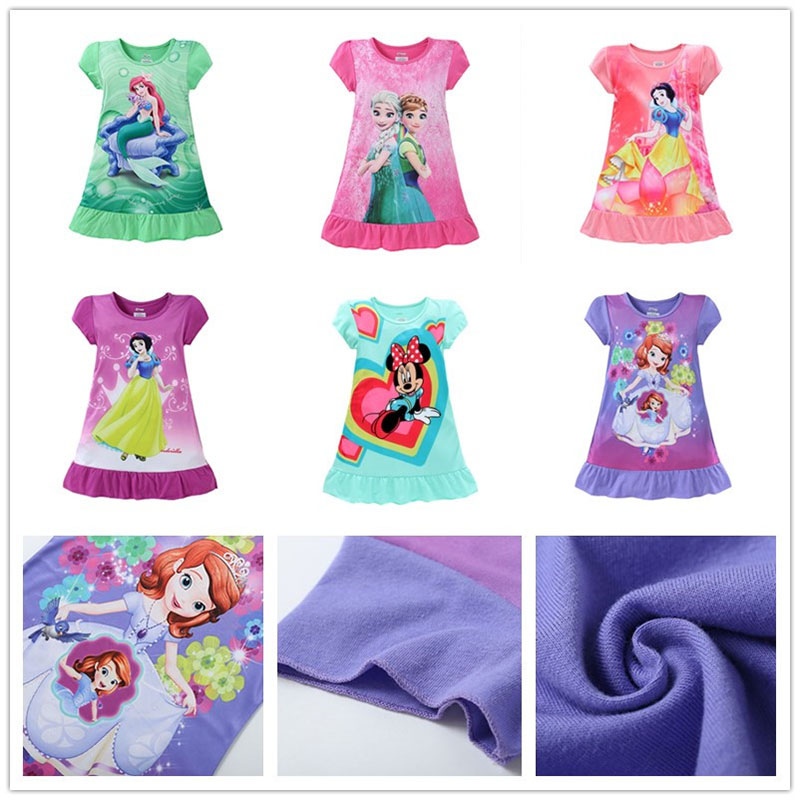 High Quality Girls Elsa Anna Mermaid Minnie Mouse Sofia Kids Princess Dresses 3-9 Years
