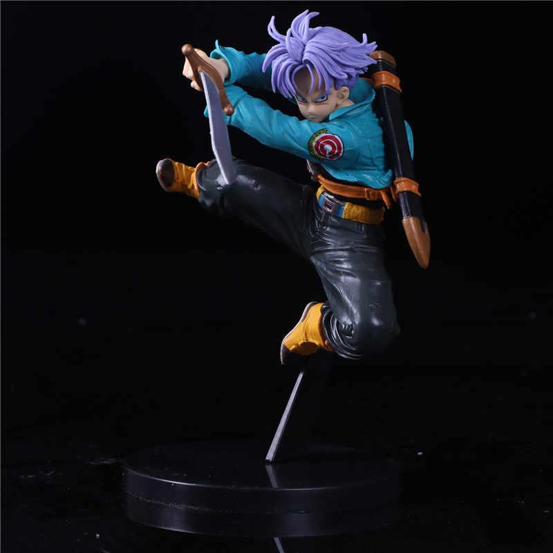 Troncos De Dragon Ball Z Futuro Primeira Vinda Saltar Para Cima Do Cabelo Roxo Estilo Figura DBZ Trunks Super Saiyan Goku Action Figure coleção
