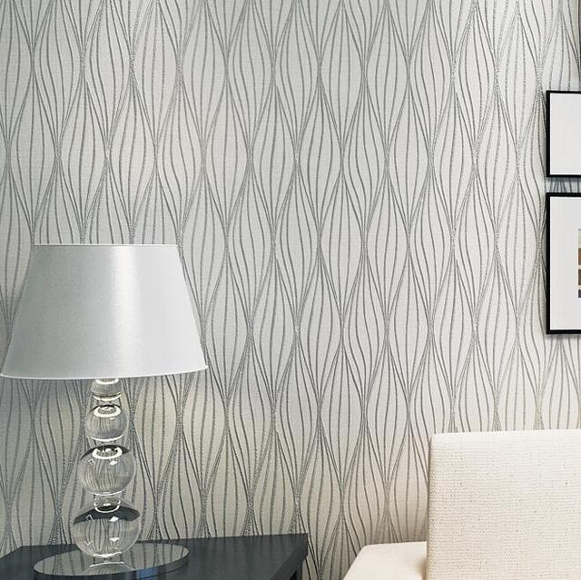 Embossed Leaf Curve Modern Striped 3D Wallpaper Living Room Sofa TV Wall Decor Grey Black And