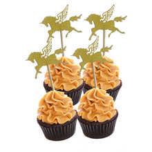 10Pcs/lot Gold Unicorn Pegasus Horse Cupcake Topper Wedding Dessert Toppers Birthday Party Decoration