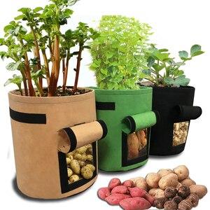 Image 1 - Bolsa de cultivo de patatas tomates con asas maceta para verduras flores bolsas plantación de jardín doméstico accesorios Caja de cultivo cubeta