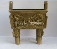 Coletar Chinês Bronze Escultura 2 Dragão Queimador de Incenso  Templo chinês Tripé Transporte rápido tripod tripod brass incense burnersbrass burner -