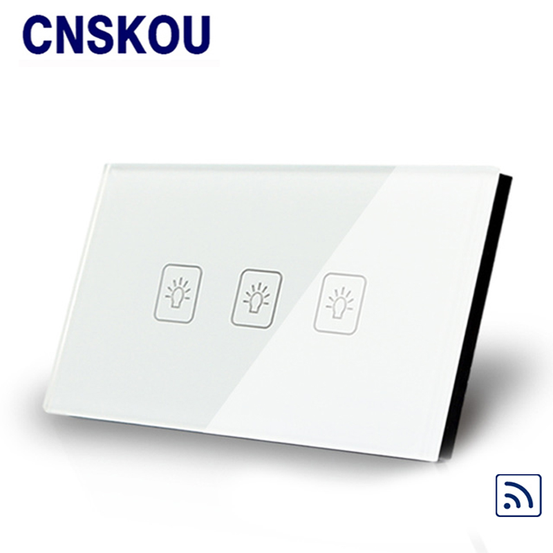 Cnskou US standard 3gang 220v remote touch switch for LED lamp gold crystal glass panel smart home factory outlet wall light free shipping remote control touch switch us standard remote switch gold crystal glass panel led 50hz 60hz