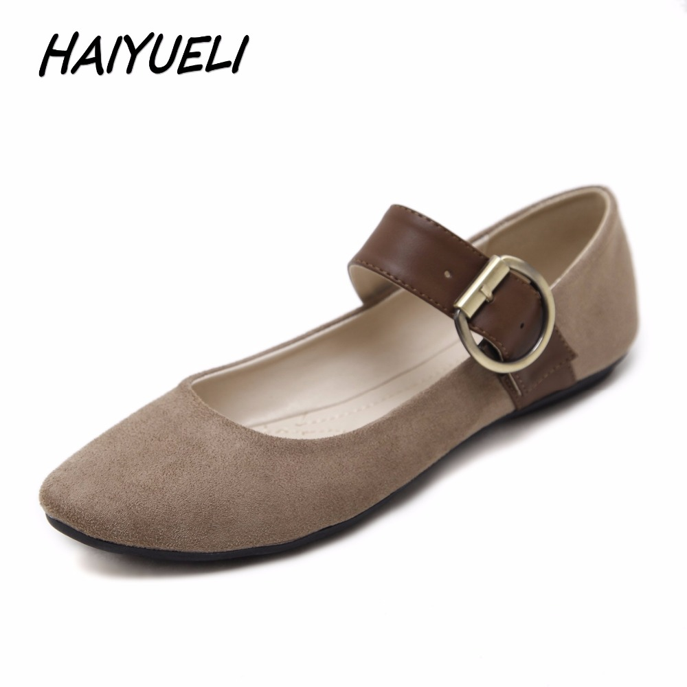 HAIYUELI Women Casual Flat Heels Shoes Woman Fashion Buckle Ballet Shoes Soft Lazy Loafers Boats Plus Size 35-41 Black Brown fashion horse hair tassels ornament flat shoes loafers shoes black pair size 35
