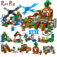8 in 1 Manor Estate Village House Model figures Building Blocks Bricks Set Jouet Jouet Minecrafted toys for Children boys