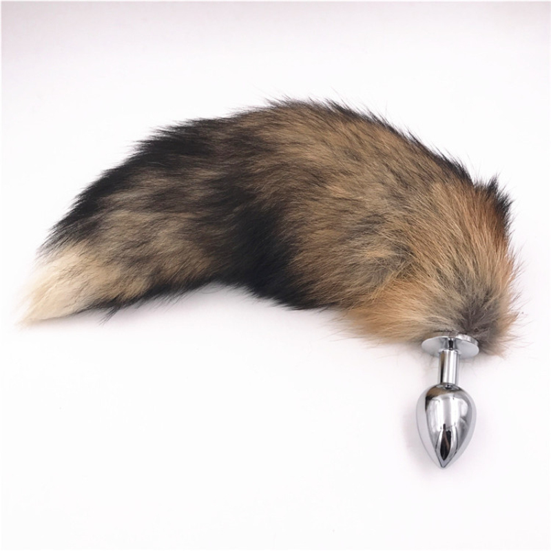 Faux Fox Tail Anal Plug Stainless Steel Butt Plug Black Brown Tails Anus Bead Adult Sex Accessories Plugs for Couples H8-1-157B