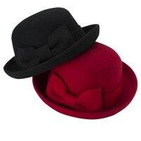 משלוח חינם 2017 אופנה החדשה השחור אדום קשת גדולה צמר הרגיש מגבעת כובע צד גברת נשים