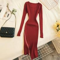 2018 autumn and winter new women O neck long sleeve irregular hem zipper knit dress female vintage elegant sweater dresses