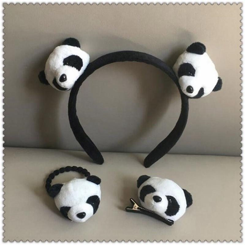 Hot Sale Lovely Girls Plush Panda Hairband Hairpins Elastic Hair Bands Headband Party Headdress Headwear Hair Accessories