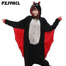 Pyjama Kigurumi pour femme et homme, Costumes de fête de la chauve souris noire, Onesies de dessin animé doux et amusant, pour filles et garçons