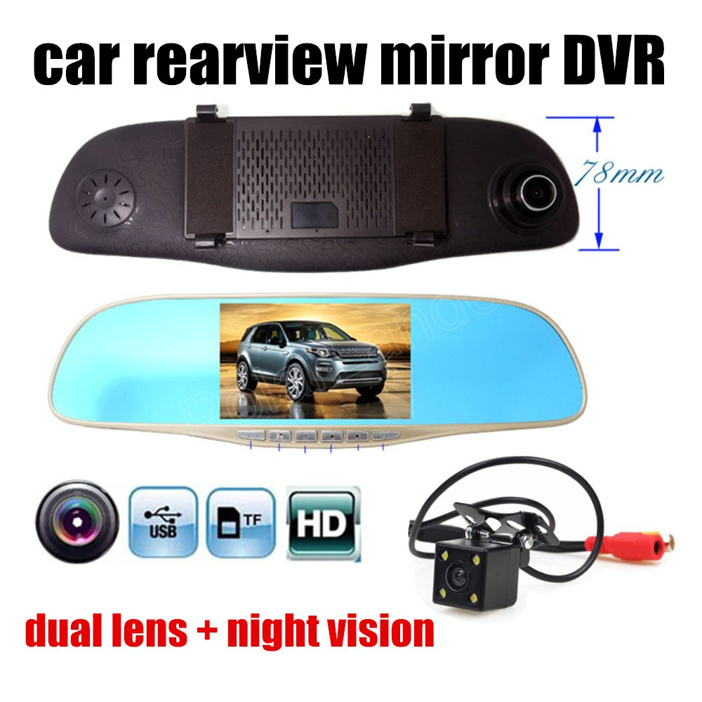 Car-Rearview-Mirror-Dvr Lens-Cameras Night-Vision Full-Hd 2 720x480 With Daul