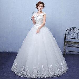 Image 2 - 2020 חדש Vintage חתונת שמלות גברת Win קצר שרוול כדור שמלת נסיכת חתונת שמלות Vestido דה Noiva Robe דה Mariee F