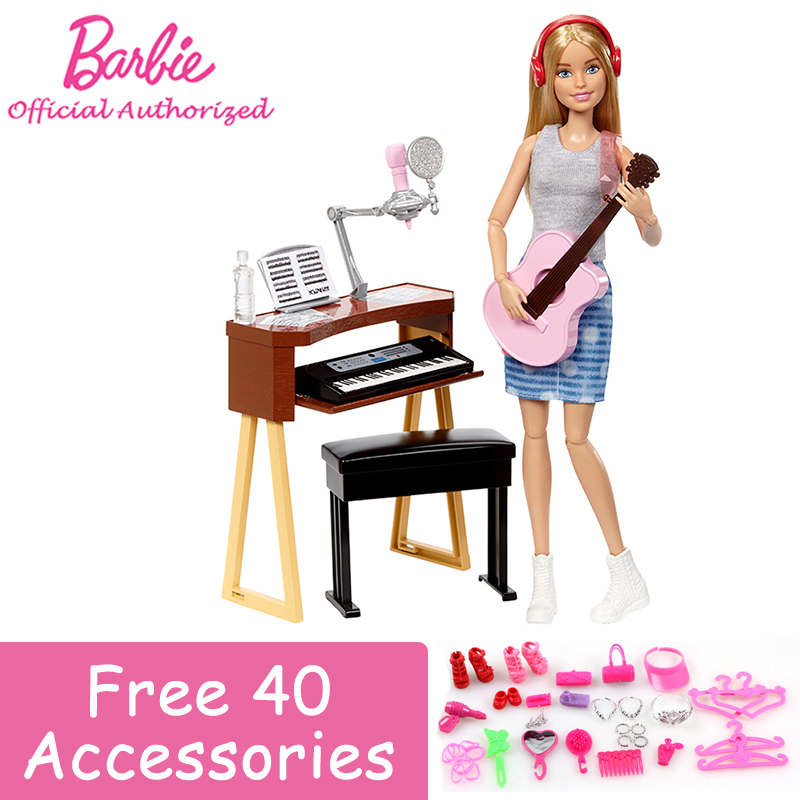 Original Barbie Pretty Girl Doll Toy Little Musican Playing the Piano and Guitarra Beautiful Barbie Toy