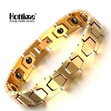Новая мода Вольфрам Браслеты Золотой здоровья магнит стекируемые Европейской Вольфрам Браслеты для Для мужчин Германий Энергии Ювелирные Изделия