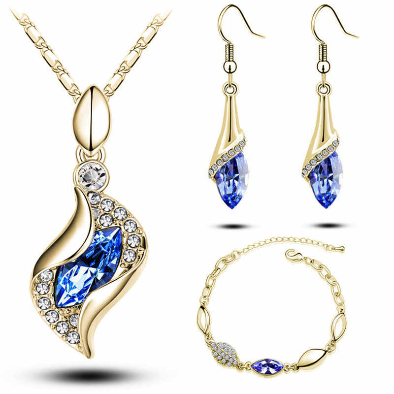 New Fashion 3 pcs Multiple Color Austrian Crystal Water Drop Elegant Luxury  Jewelry Sets For Women