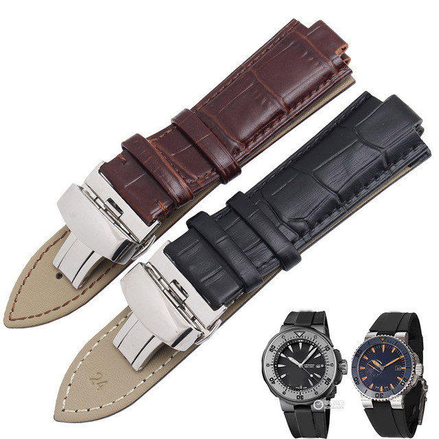Us 14 4 10 Off 24 11mm Convex Interface Strap Black Brown Leather Men S Watch Strap For Oris Prodiver Tubbataha Aquis Watch Accessories In