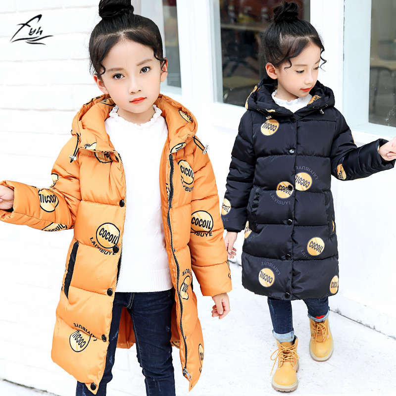 FYH Girls Clothing Kids Hooded Parka Cotton-padded Children Winter Warm Thicken Outerwear Baby Girls Stylish Down Jacket Printed baby girls parkas 2017 winter thick outerwear casual coats children clothing kids clothes solid thicken cotton padded warm coat