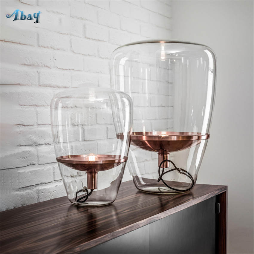 Us 168 0 30 Off Art Deco Big Bubble Clear Glass Table Lamp For Living Room Study Bar Restaurant Modern Bedroom Lamp Office Hotel Led Stand Light In