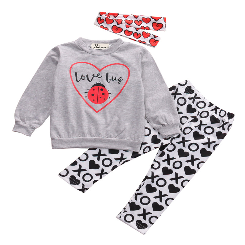 Hot sell Toddler Baby Kids Girls Clothes Long Sleeve ladybug Shirt Tops+XO Pants 2pcs Outfit Clothing Set 2pcs children outfit clothes kids baby girl off shoulder cotton ruffled sleeve tops striped t shirt blue denim jeans sunsuit set