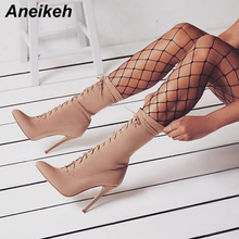 Aneikeh Stretch Fabric Boots Women 2019 Autumn Fashion Ankle Boots Pointed Toe Stiletto Heel Shoes Lace-up High Heel Botas mujer fashion colorized rhinestone ankle boots lace crystal embroidered botas thin high heel boots spring autumn winter women shoes