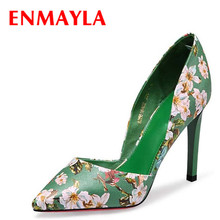 ENMAYLA Women Retro High Heels Printing Flowers Pumps Black Green Pointed Toe Shoes Woman Summer Lady Floral Derss