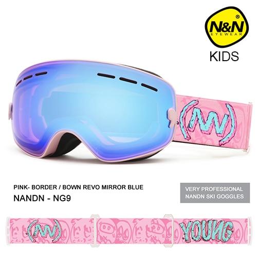 NANDN детские лыжные очки, маленькие размеры, для детей, двойные, UV400, противотуманная маска, очки для катания на лыжах, для девочек и мальчиков, ...